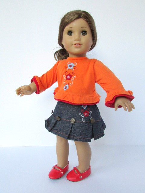 Denim skirt & t-shirt for american girl doll