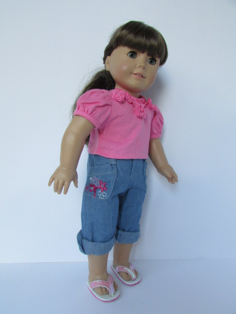 denim capri t-shirt american girl doll