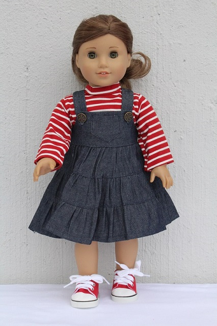 denim jumper & t shirt american girl doll