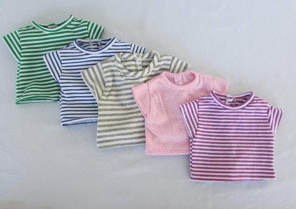 18 inch striped doll t-shirts