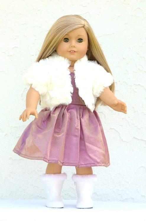 18 inch doll evening gown & fur shrug - The Doll Boutique