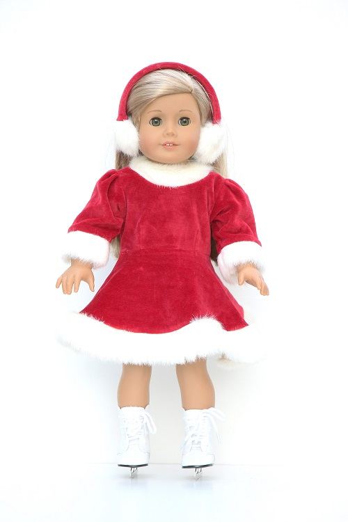 067c1256ad12 18 inch doll red skating dress & earmuffs - The Doll Boutique