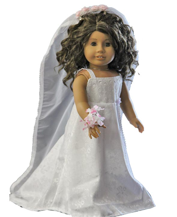 Wedding gown and veil for 18 inch dolls the doll boutique for American girl wedding dress