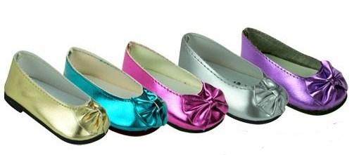 Metallic Bow Shoe For 18 American Girl Doll