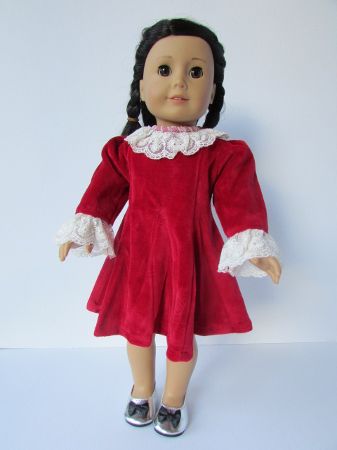 Red velvet dress for 18 inch doll - The Doll Boutique