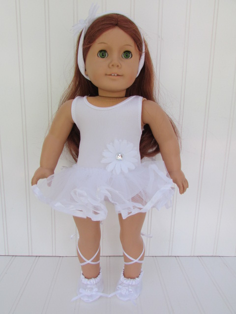 Ballerina shoes, dress, headband for 18 inch doll