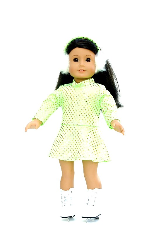 18 Inch Doll Lime Green Skating Outfit
