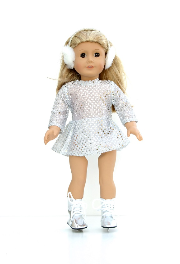 18 Inch Doll Silver Skating Outfit