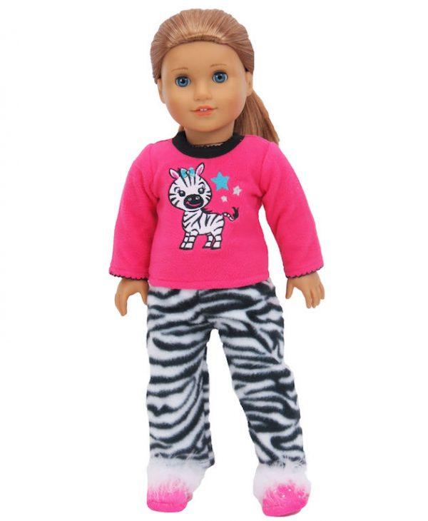 fleece-zebra-pajamas-fit-18-inch-american-girl-dolls