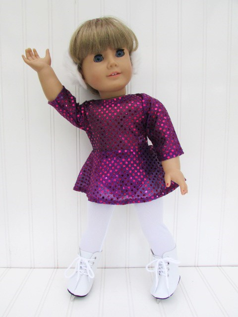 "Pink Sequin Skating Dress /& Earmuffs fits 18/"" American Girl Doll Clothes"