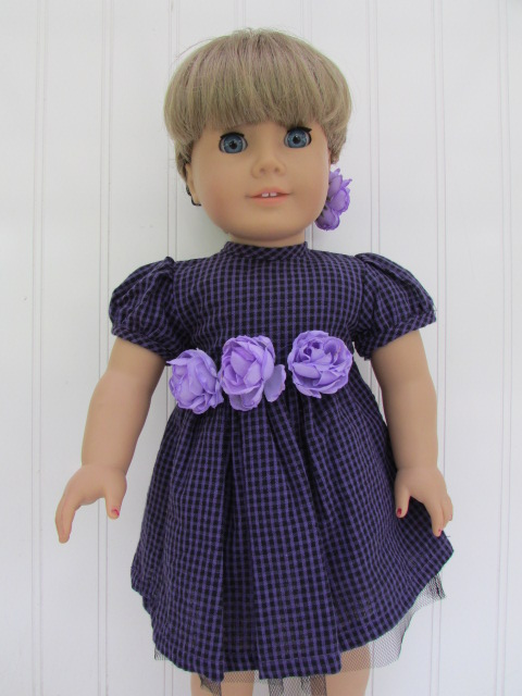 plaid-rosette-dress-with-hair-pin-for-18-inch-american-girl-dolls