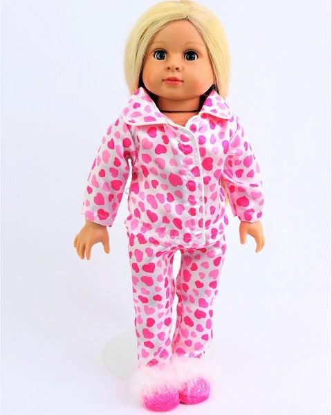 18 inch doll satin heart pajamas (3)