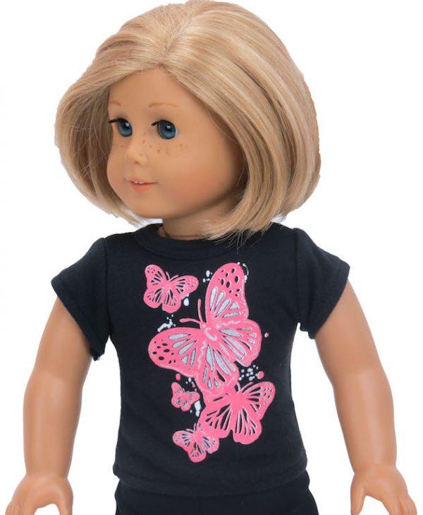 18 inch doll t-shirt butterflies short sleeve