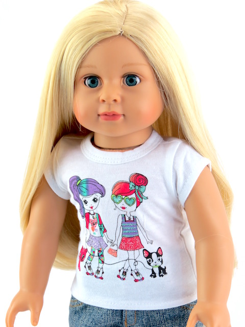 18 inch doll t-shirt girls short sleeve