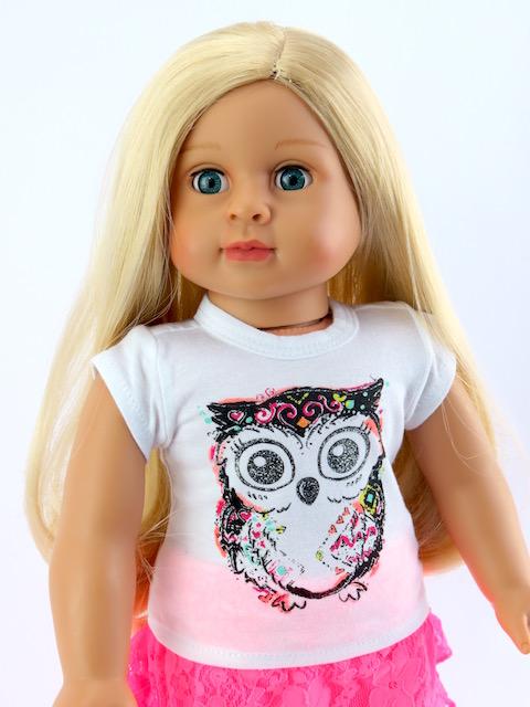 18 inch doll t-shirt owl short sleeve