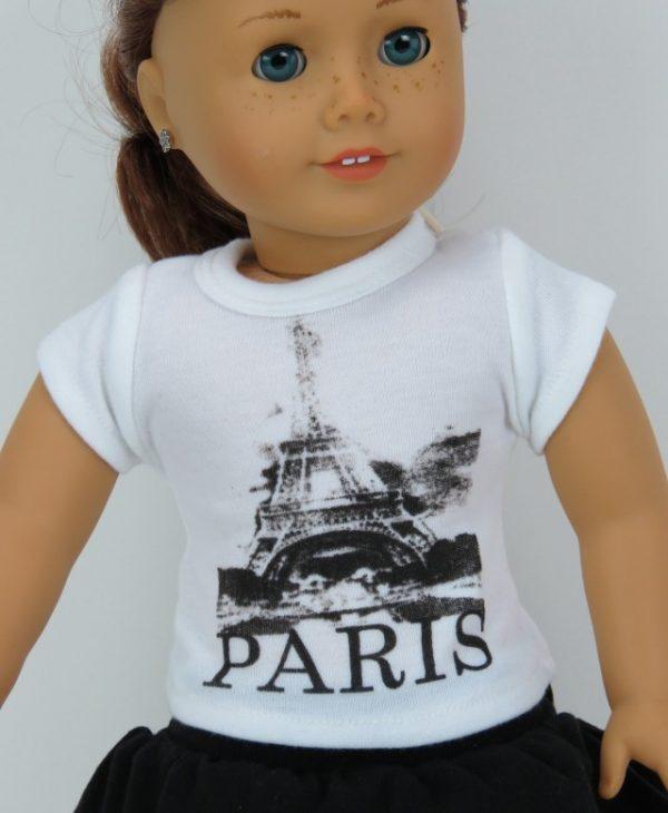 18 inch doll t-shirt paris short sleeve