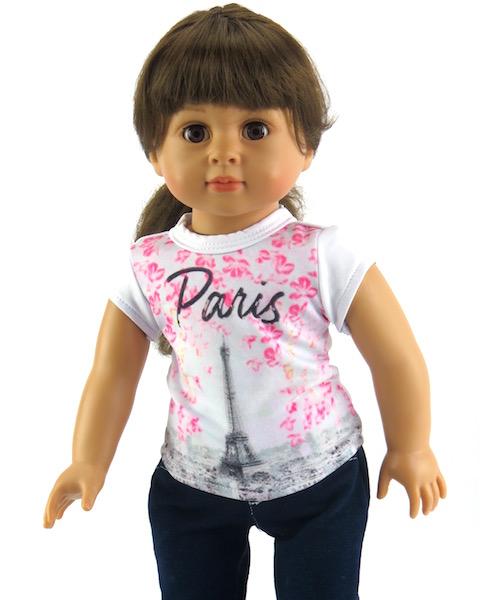 18 inch doll t-shirt pink paris short sleeve