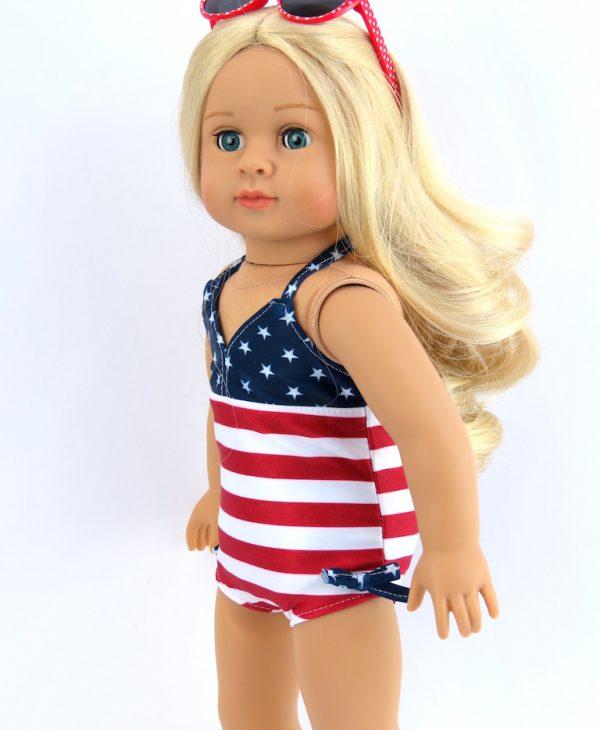 Patriotic swimsuit beach wear for 18 inch dolls
