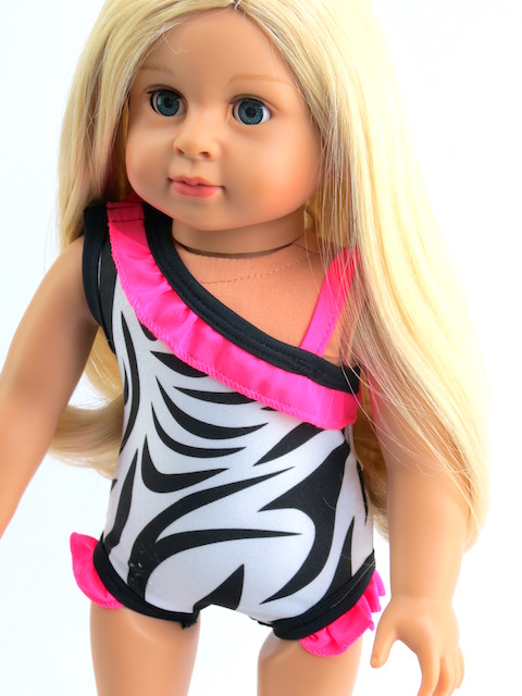 zebra swim suit 18 inch doll beach