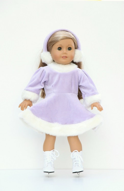 003130287ef 18 inch doll lavender skating dress   earmuffs