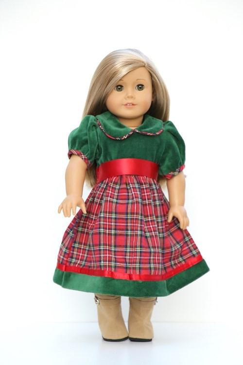 velvet plaid christmas dress for 18 inch doll - Plaid Christmas Dress