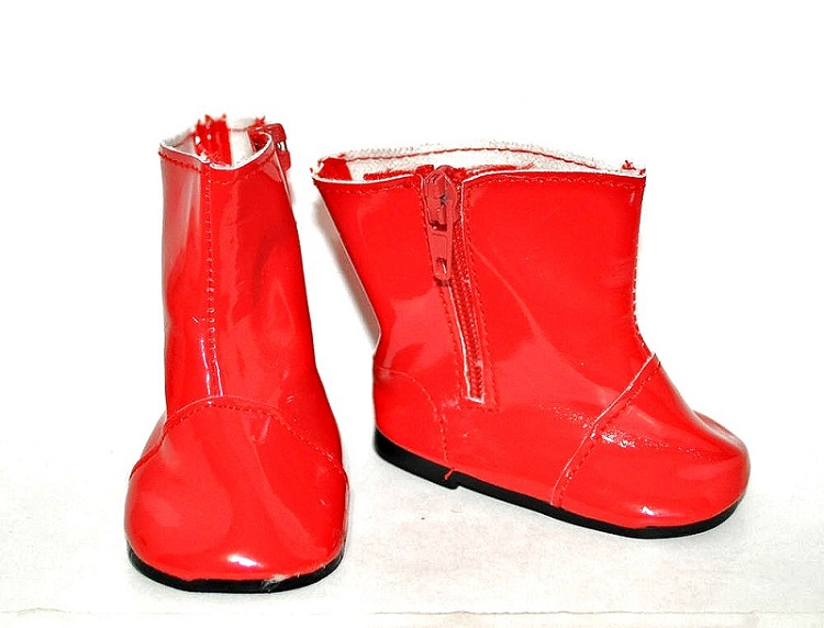 18 Inch Doll Red Zipper Boots The Doll Boutique