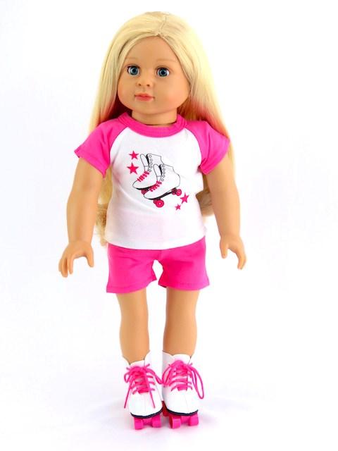 18 Inch Doll Pinkroller Skating Outfit Shorts Tee Skates