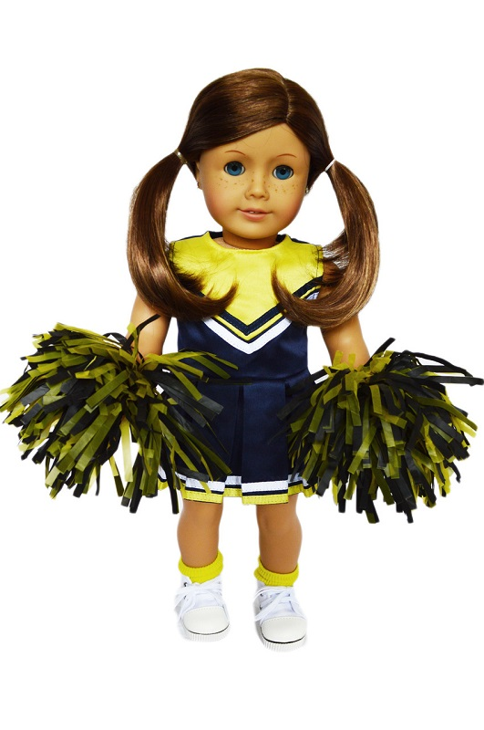 CPK 16-18 inch doll clothes//cheerleader outfit//pom poms//hair bows