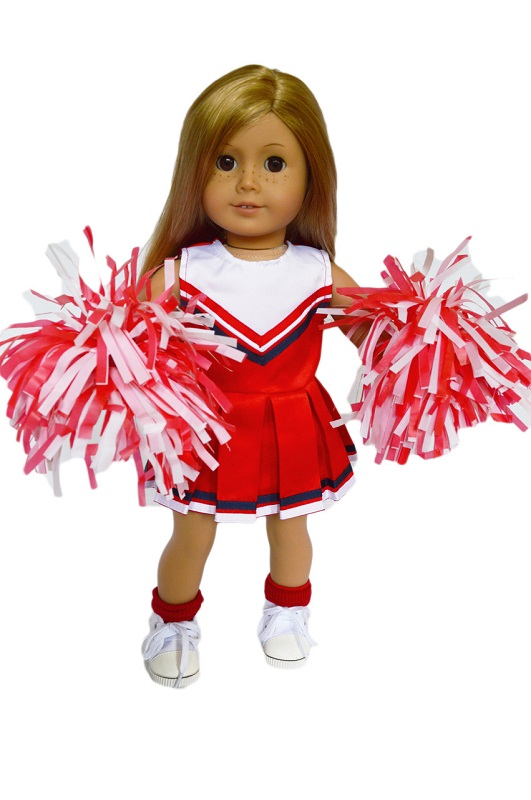 3eb7c154372 18 Inch Doll Red Cheerleader Outfit & Pom-Poms