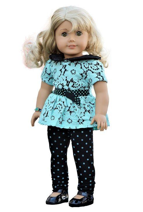 18 Doll Black Aqua Lace Top Dotted Leggings