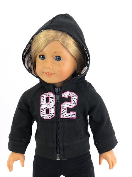 18 Inch Doll Black Zip Up 82 Hoodie