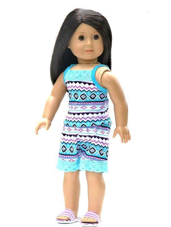 18 Inch Doll Tribal Print Shorts Tank Top Slippers