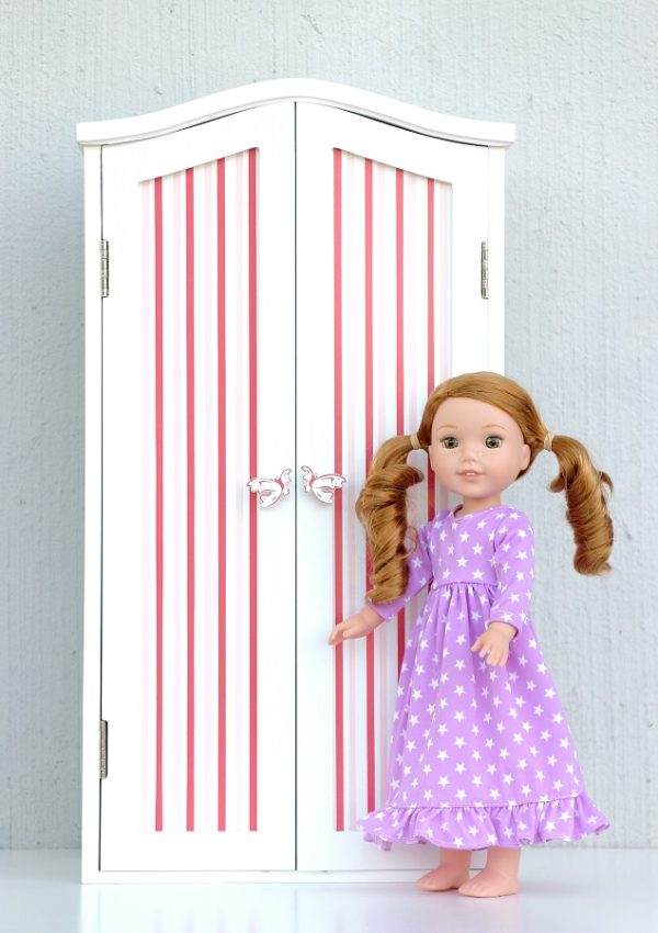 Wellie Wisher Doll Pink Striped Armoire Bedroom Furniture