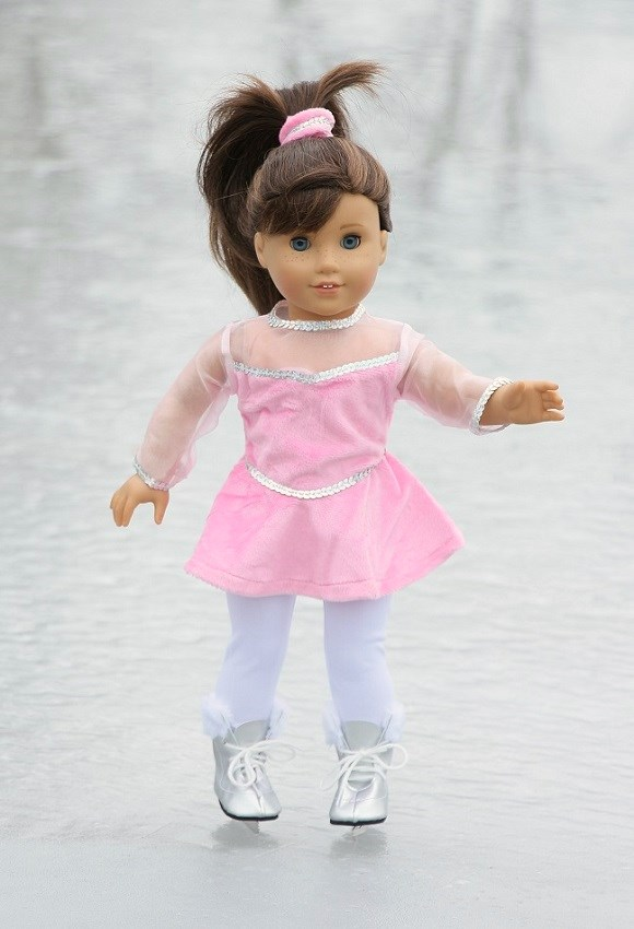 18 Inch Doll Pink Figure Skater Outfit Skates Included
