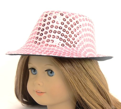 fbcaded65 18 Inch Doll Pink Sequin Fedora Hat