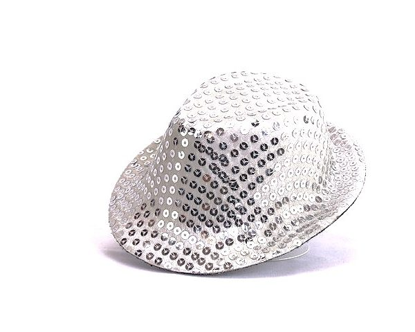 18 Inch Doll Silver Sequin Fedora Hat