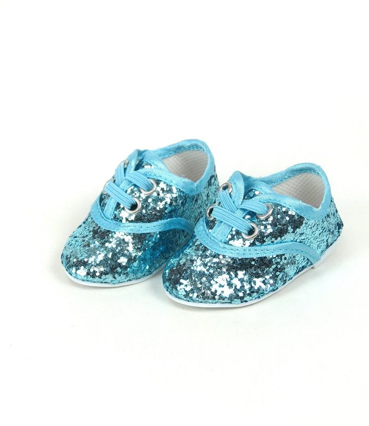 18 Inch Doll Aqua Glitter Dance Shoes