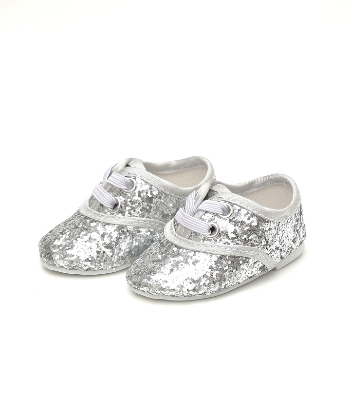 18 Inch Doll Silver Glitter Dance Shoes