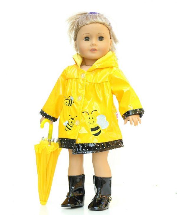 c111ffaf55 18 Inch Doll Yellow Bumblebee Hooded Raincoat. 18