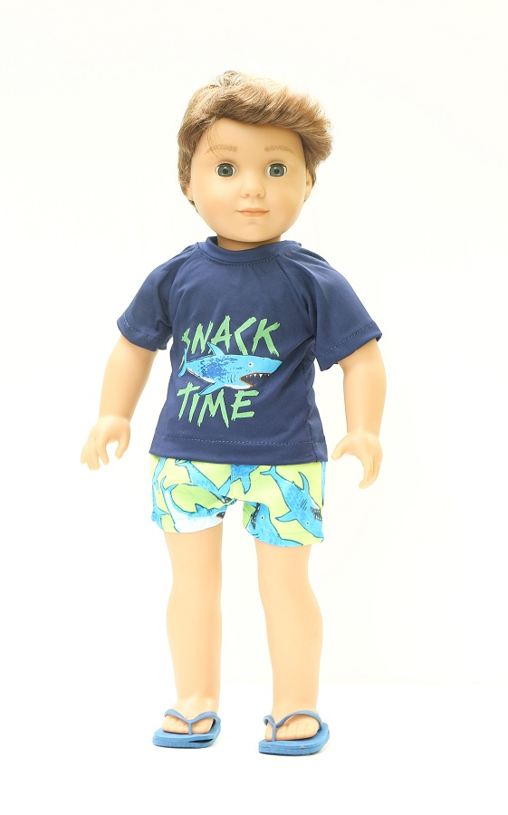 bc4f21c026bb 18 Inch Boy Doll Shark Shorts Set - The Doll Boutique