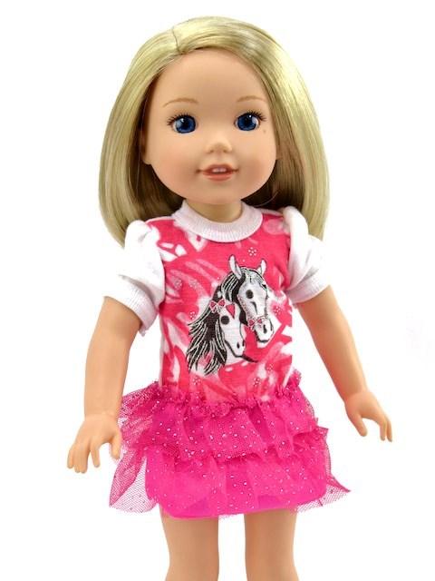 14.5 Inch Wellie Wisher Doll Sparkly Tutu Horse Dress 2 1