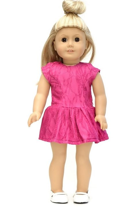 18 Inch Doll Lace Overlay Hot Pink Summer Dress 1