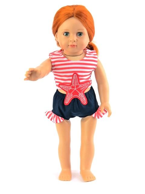 18 Inch Doll Nautical Starfish Swimsuit