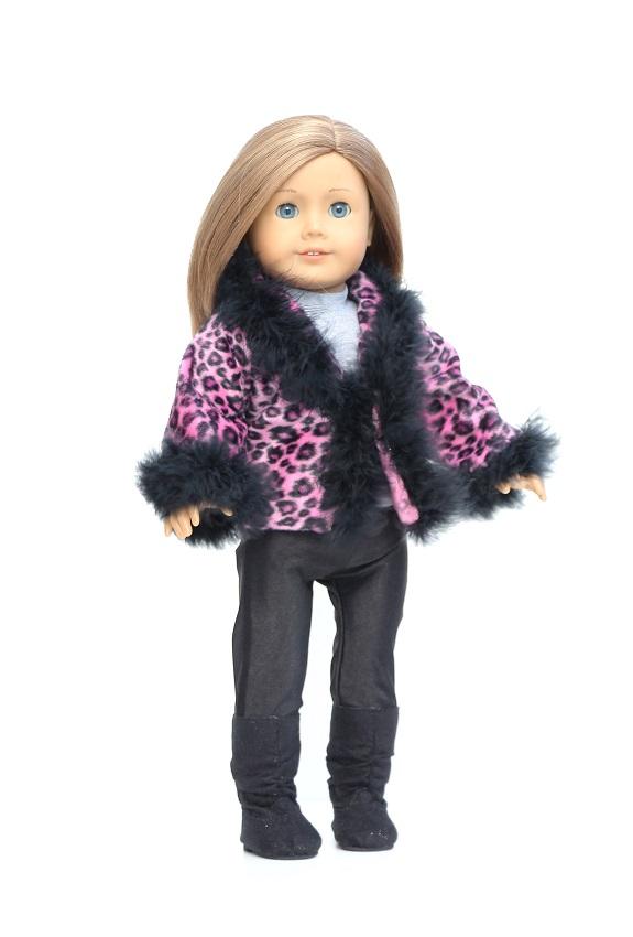 18 Inch Doll Pink Leopard Fur Trimmed Jacket Leggings