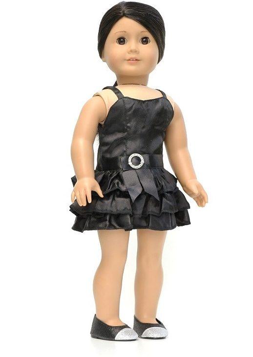 18 Inch Doll Little Black Satin Dress 1