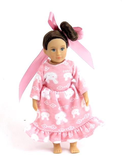 American Girl Mini Doll Pink Bunny Nightgown Hair Ribbon