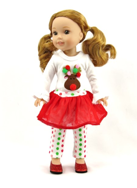 "Reindeer Shirt /& Leggings for 18/"" American Girl Doll Clothes Christmas Tutu"