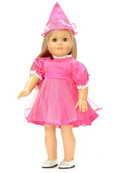 18 Inch Doll Fancy Pink Birthday Party Dress Hat 1