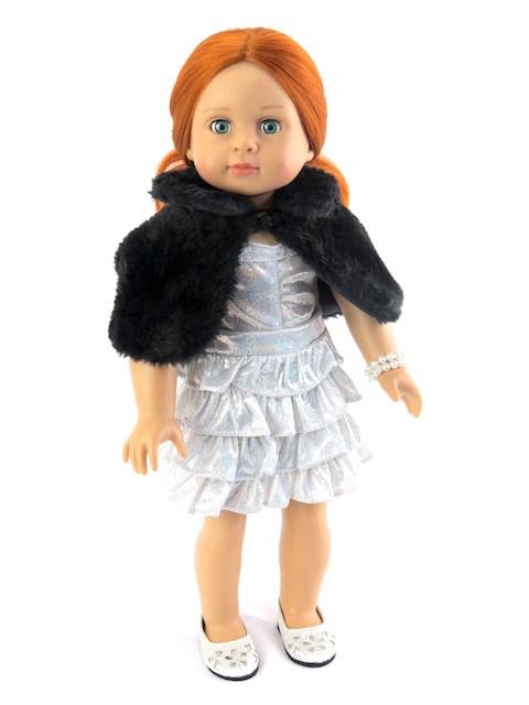18 Inch Doll Silver Glamour Dress Black Fur Shrug Pearl String