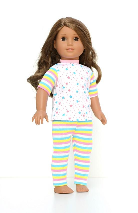 18 Inch Doll Stars Stripes Two Piece Pajamas